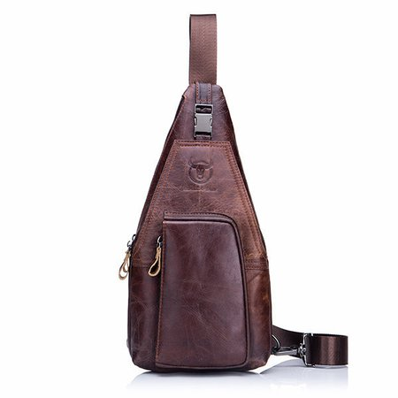 Genuine Leather Business Casual Chest Bag Crossbody Bag For Men