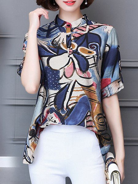 Casual Abstract Printed Long Sleeve Stand Collar Blouse