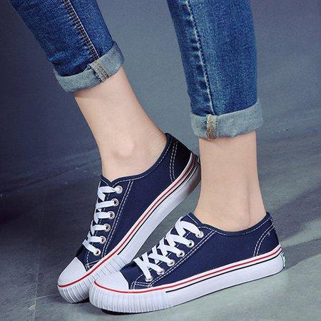 Grande Taille Couleur Pure Lacer Des Chaussures Plates En Toile Casual q7fdP