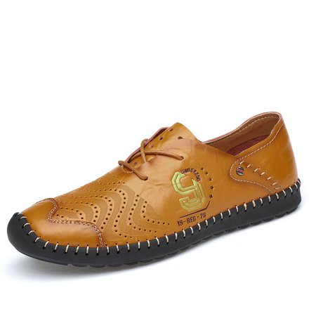 Men Soft Cow Leather Hand Stitching Non-slip Casual Shoes