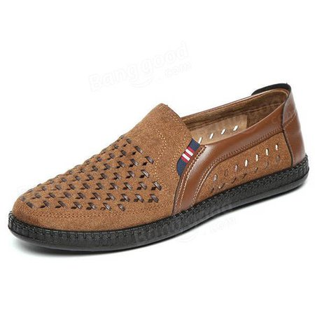 Men Breathable Woven Style Slip On Causual Flats