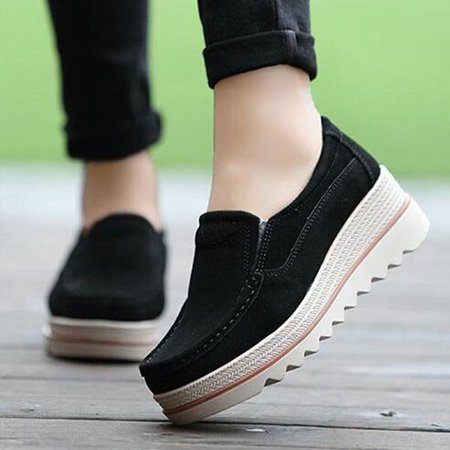 Womens Breathable Suede Round Toe Slip On Platform Shoes - JustFashionNow.com