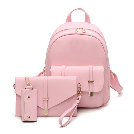 Women Sweet 3 PCS PU Leather Backpacks Students Schoolbags