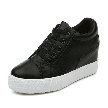 Lace Up Increased Heel Breathable Flat Casual Shoes For Women