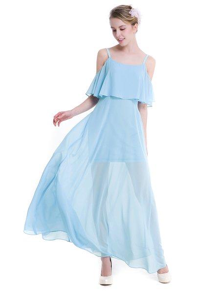 Sky Blue Chiffon Girly Cold Shoulder Swing Dress