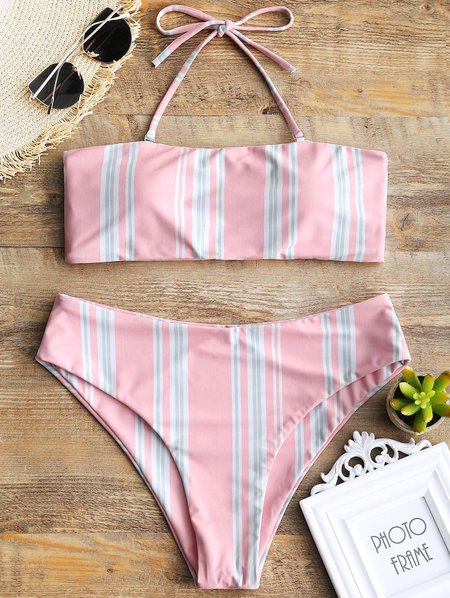 Pink Halter Stripes Printed Sweet Bikini