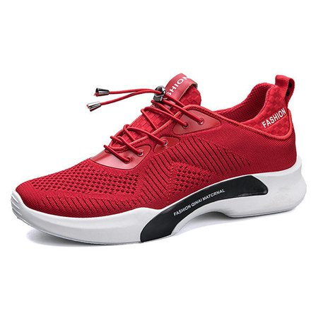 Knitted Fabric Sport Shock Absorption Casual Sneakers For Men