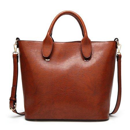 Women PU Leather Handbag Elegant Retro Tote Bag Crossbody Bag
