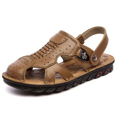Men Anti-collision Toe Breatnable Soft Roman Sandals