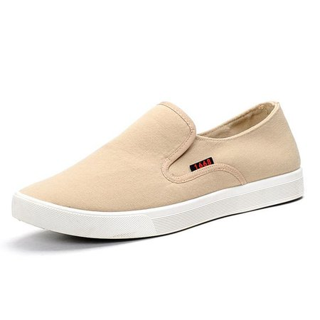 Men Pure Color Canvas Flat Slip On Trainers Light Casual Shoes