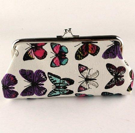 Women Sweet Butterfly Printed Wallet Canvas Evening Clutches Wristlet Purse