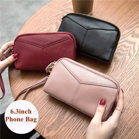 Genuine Leather Women 6.3 Inches Phone Clutch Wallet Keys Card Coin Holder Purse