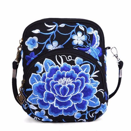 Ethnic Style Flower Pattern Embroidery Shoulder Phone Purse Crossbody Bags