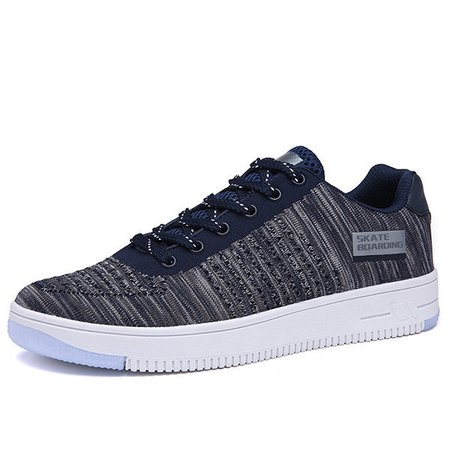 Men Knitted Fabric Breathable Skate Boarding Lace Up Sneakers