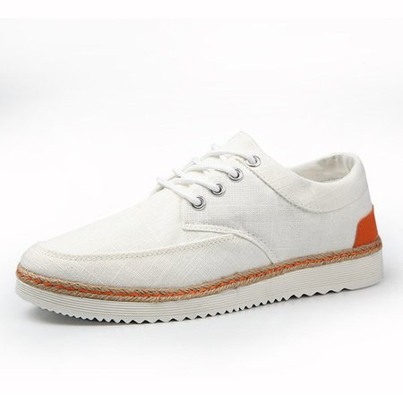 Big Size Men Lace Up Canvas British Style Casual Pure Color Shoes