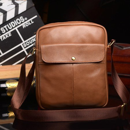 Faux Leather Vintage Casual Solid Crossbody Bag For Men