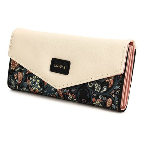 Women Chic Floral Printed PU Leather Envelope Shape Long Wallet