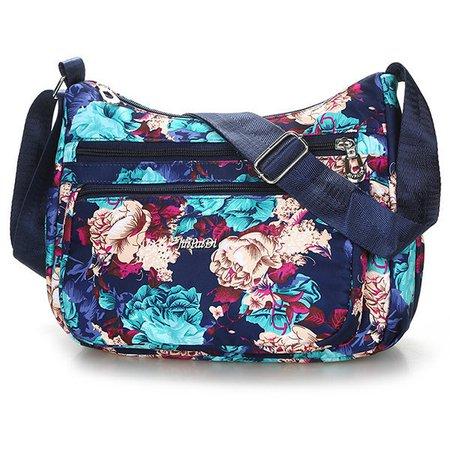 Women Waterproof Nylon Flower Printed Multi Pockets Outdoor Crossbody Bag