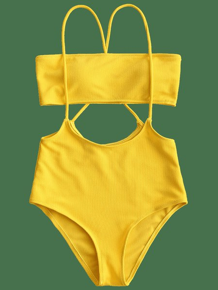 solid bandeau top and high waisted slip bikini bottom