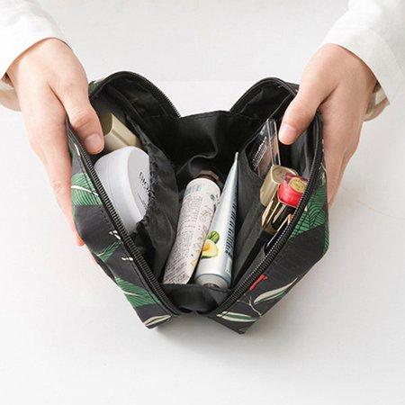 Women Forest Series Printed Nylon Waterproof Cosmetic Bag Toiletry Bag