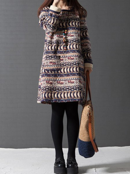 Printed Vintage Long Sleeve Sweatshirts Dress with Necklace