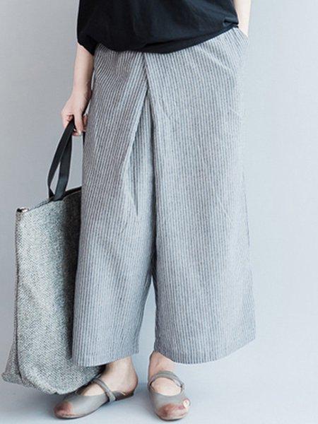 Gray Stripes Casual Wide Leg Pants