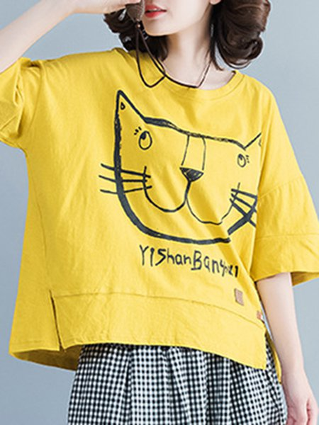 Yellow Crew Neck Animal Print Printed Half Sleeve T-Shirt