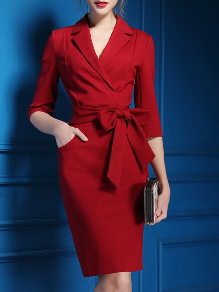 Women Elegant Dress Surplice Neck Sheath Work 3/4 Sleeve Bow Dress