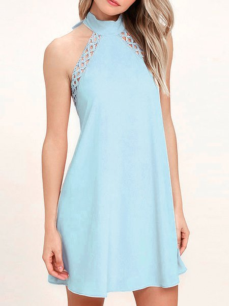 Blue Solid Halter Crocheted Sleeveless Sexy Backless Dress