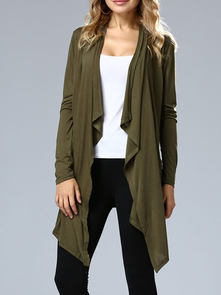 Army Green Solid Asymmetric Outerwear