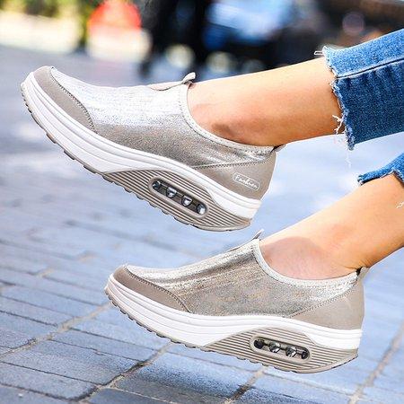 Comfortable Rocker Sole Slip On Shake Casual Shoes