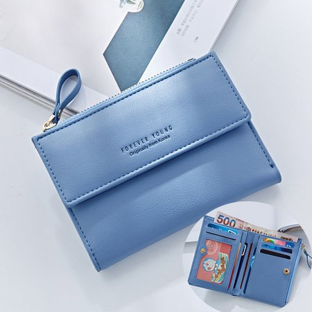 Women Elegant 10 Card Slots Short Wallet PU Leather Card Holder Coins Bag Purse
