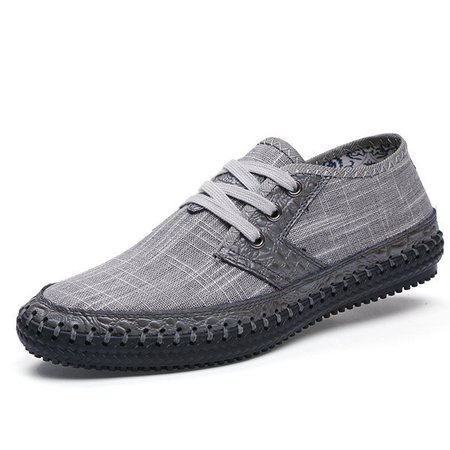 Big Size Men's Canvas Splicing Stitching Soft Sole Lace Up Casual Shoes