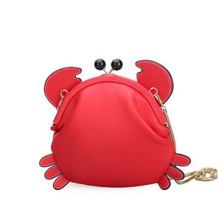 Woman Crab Pattern Shape Cute Crossbody Bag  Girls Storage Bag