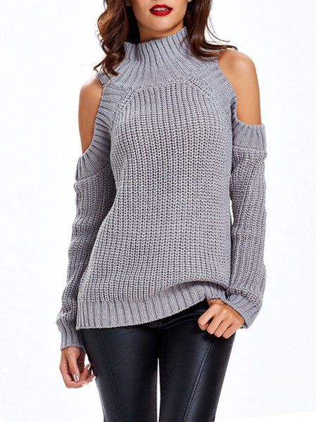 Casual Off-shoulder Solid Stand Collar Long Sleeve Sweater