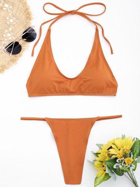 Sexy G-string Padded Solid Halter Wireless Bikini
