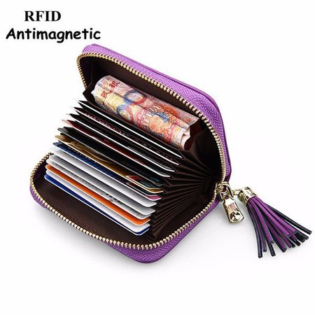 Women RFID Antimagnetic Genuine Leather 13 card slots Tassel Card Holder