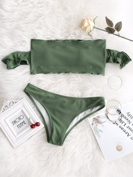Army green Off The Shoulder Ruffles Bandeau Bikini