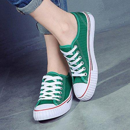 Grande Taille Couleur Pure Lacer Des Chaussures Plates En Toile Casual KZU2E