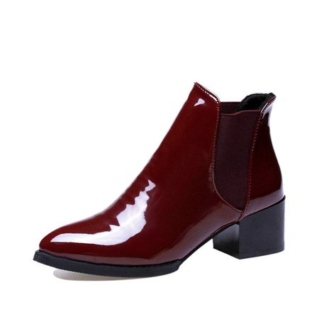 Pointed Block Patent Leather Boots For Women