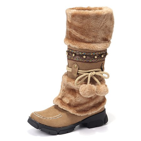 Women Large Size Rhinestone Slip On Mid Calf Warm Knight Boots