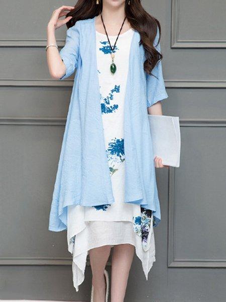 Half Sleeve Crew Neck Cotton Casual Vintage Dress
