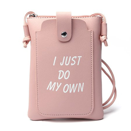 Women PU Leather Letter Printed Crossbody Bags Character Phone Bags
