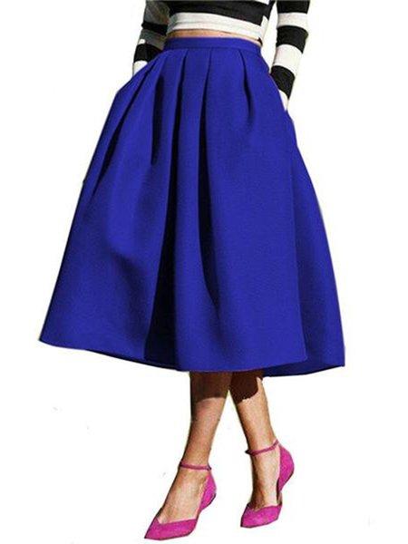 Skater Plain Pleated Casual Skirt