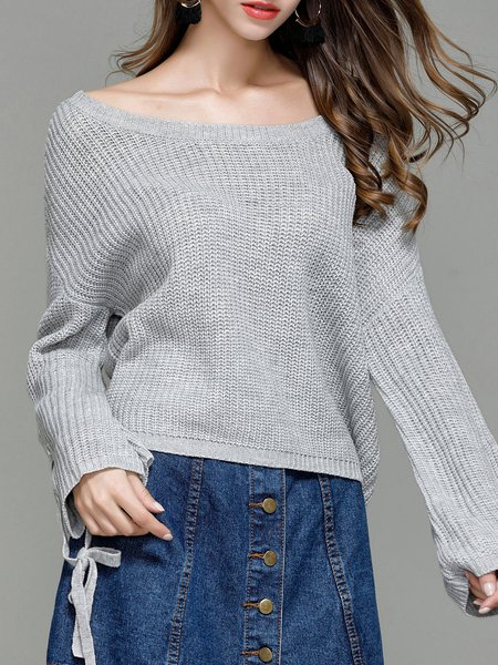 Gray Lace Up Plain Long Sleeve H-line Sweater