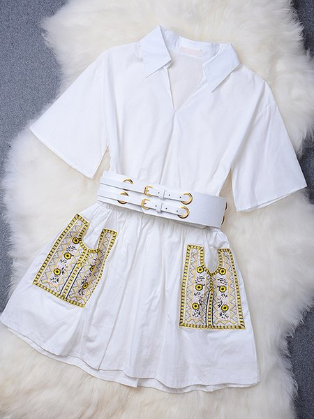 White Embroidered Fashion Designed Shirt Collar A-line Dress with Belt