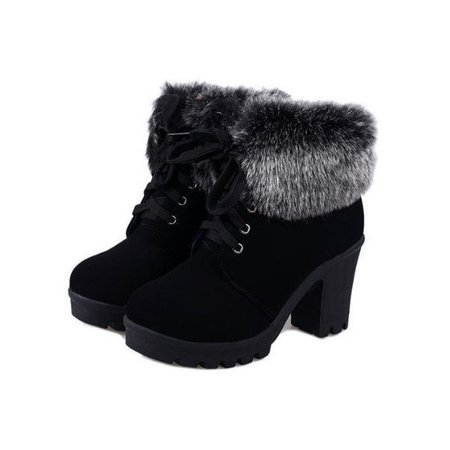 Black Warm Fur Ankle Lace-Up Women's Boots