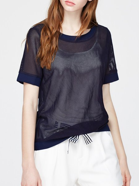 Plain Mesh Short Sleeve Crew Neck Casual Casual Top