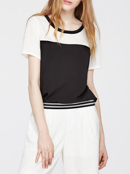 Short Sleeve Color-block Crew Neck T-Shirt