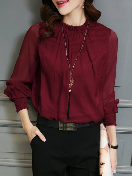 Stand Collar Blouse Designs Images : Long sleeve stand collar casual polyester blouse